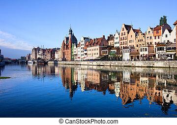 gdansk, cidade velha, e, motlawa, rio