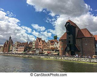 gdansk, cidade velha, em, poland., a, velho, medieval,...