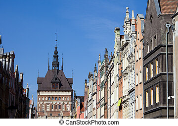 gdansk, cidade velha, skyline, em, polônia