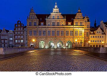 Gdansk. City gate. - View of the old green city gate. Gdansk...