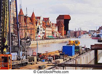gdansk, cityscape, e, moltawa, rio, em, polônia
