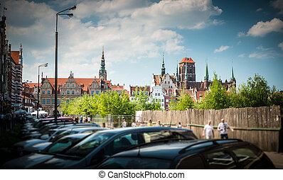 gdansk, cityscape, ligado, ensolarado, day., poland.