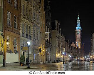 gdansk, corredor cidade, à noite