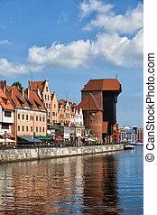 gdansk, horizonte cidade, rio, vista