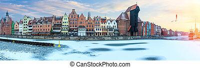 gdansk, inverno, panorama, de, a, motlawa, dique, com,...