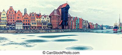 gdansk, inverno, panorama, vista, ligado, zuraw, porto,...