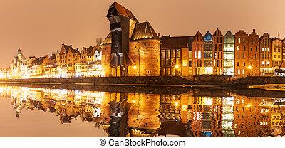 gdansk, noturna, panorama, vista, ligado, zuraw, porto,...