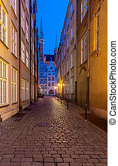 Gdansk. Old narrow medieval street.