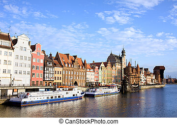 Gdansk Old Town in Poland - Picturesque waterfront scenery...