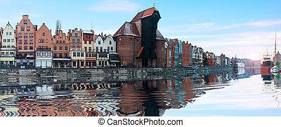 gdansk, panorama, de, a, motlava, dique, com, famosos,...