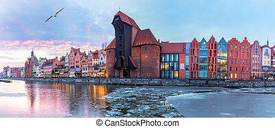 gdansk, panorama, em, pôr do sol, vista, ligado, zuraw,...