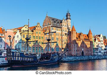 gdansk, polônia, outubro, 14, 2018:, dia ensolarado, em,...
