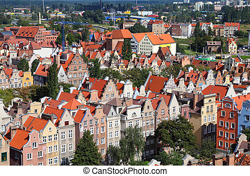 Gdansk city in Poland (also know nas Danzig) in Pomerania region. Old town aerial view.