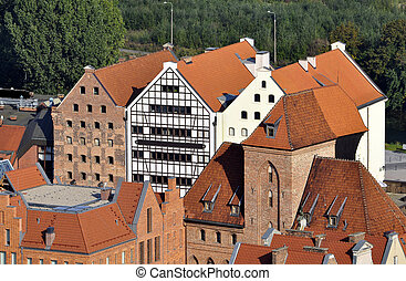 Gdansk, Poland. - High angle view of the historic city of...