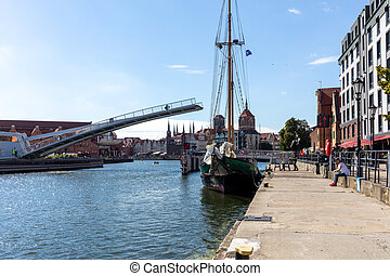 The Draw Footbridge over the Mot?awa River in Gdansk