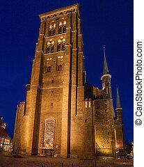 GDANSK, POLAND - SEPTEMBER 1, 2016: Tower of St. Mary's church in Gdansk, Polan