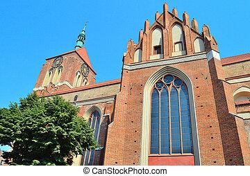 Gdansk, Polish Republic. Church of St. John in a sunny summer day