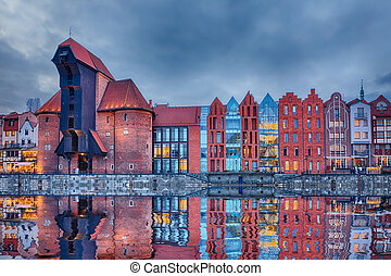 gdansk, porto, guindaste, zuraw, em, pôr do sol, polônia,...
