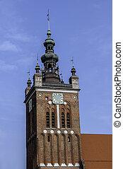 gdansk, relógio, poland., torre