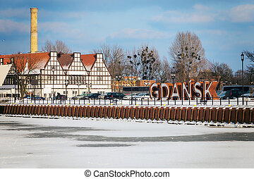 Gdansk sign in the old town
