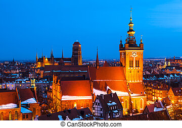 Gdansk Skyline with St. Catherine's and St. Mary's Churches, Pomerania, Poland