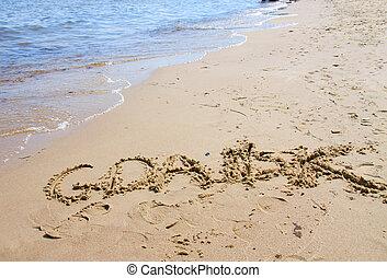 Gdansk, spiaggia, segno