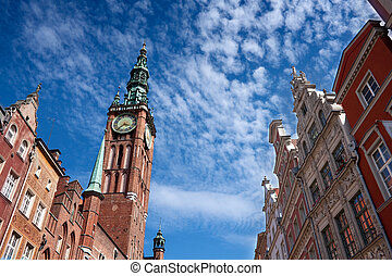 Gdansk town hall and old town architecture. Poland.