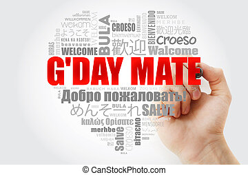 G'day Mate (Welcome in Australian) love heart word cloud in ...