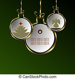 Gdesign from abstract balls with silhouettes of a Christmas tree and an angel with a gold border.
