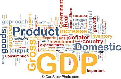 gdp, concepto, plano de fondo, economía