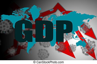 GDP Economy down with Covid-19 crisis concept