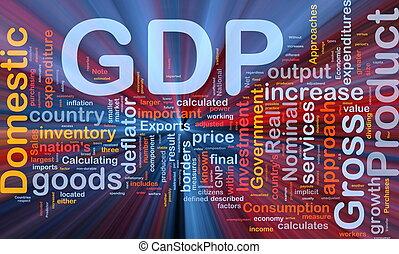 gdp, glowing, conceito, fundo, economia