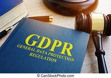 (gdpr), algemeen, regeling, bescherming, data, gavel.
