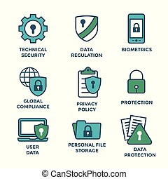 GDPR and Privacy Policy Icon Set with locks, padlocks and shields
