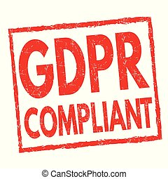 GDPR compliant sign or stamp on white background, vector illustration