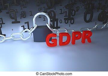 gdpr, concept, illustration., général, protection données, règlement, les, protection, de, personnel, data., données, et, chaîne, à, lock., 3d, render, illustration.