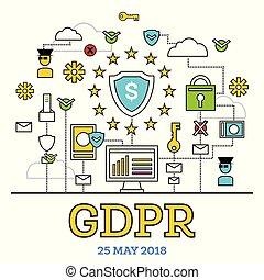 GDPR Concept. Vector Illustration. General Data Protection Regulation.