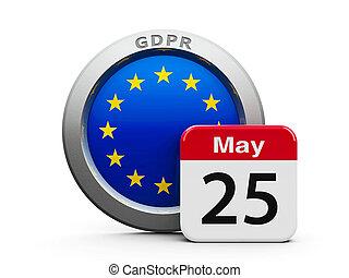 GDPR Day EU - Emblem of European Union with calendar button...