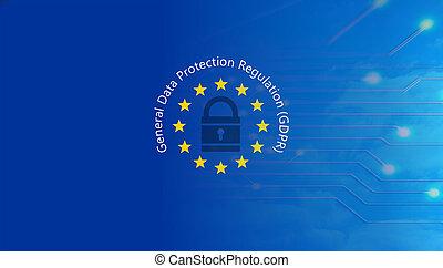 gdpr, europe., général, protection données, règlement,...
