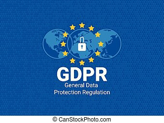 GDPR - General Data Protection Regulation. Are you ready for GDPR. EU flag. Vector illustration - Vector