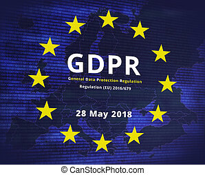 GDPR - General Data Protection Regulation. EU flag star and...