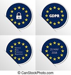 GDPR - General Data Protection Regulation. EU flag. Vector illustration