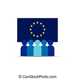 GDPR. General Data Protection Regulation. EU map and flag. People Icon. Business team work. Social network. Crowd sign. Leadership or community concept. Vector illustration in flat style.