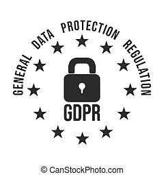 GDPR - General Data Protection Regulation in European Union symbol.