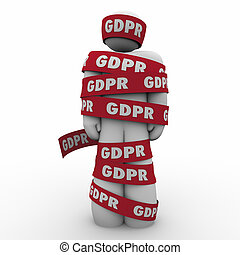 GDPR General Data Protection Regulation Man Caught Wrapped in Tape 3d Illustration