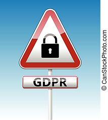 GDPR - General Data Protection Regulation. Traffic sign with padlock
