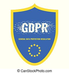 gdpr, glitch, escudo, cartaz