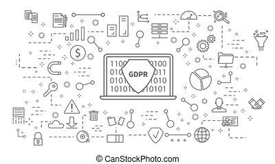 GDPR icons set. on white