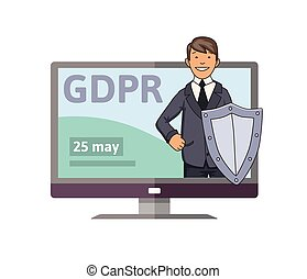 GDPR initiation date. Smiling man in suit with the shield standing out from computer monitor. Data defender. Concept vector illustration. Flat style. Isolated on white background.