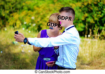 gdpr, junge mädchen, machen, selfie, per, handy, auf, der,...